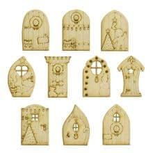 Christmas Fairy Doors Pack of 10 Fairy Doors - 10 designs - Laser Cut 3mm MDF